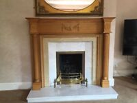 Pine fire surround and marble hearth