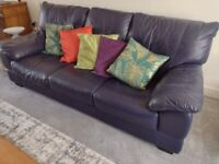 Blue Leather DFS Sofa, Armchair & Pouffe