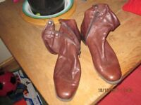 Brown Leather Ankle Boots Hand Made Size 40 (6) Only worn twice.