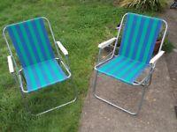 2 x vintage striped garden deck chairs