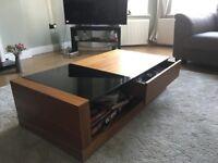 Solid dark wood & glass coffee table