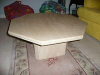 Octagonal alabaster (marble-like) coffee table