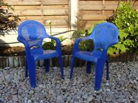 2 x Kids children's indoor outdoor blue plastic chair chairs / Used