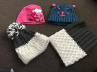 Bundle of hats and a matching snood