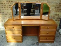Quality dressing table with mirror and footstool