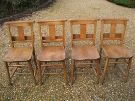 SET OF 4 OLD CHURCH / CHAPEL CHAIRS WITH BOOK HOLDERS. More pew chairs available. DELIVERY POSSIBLE.