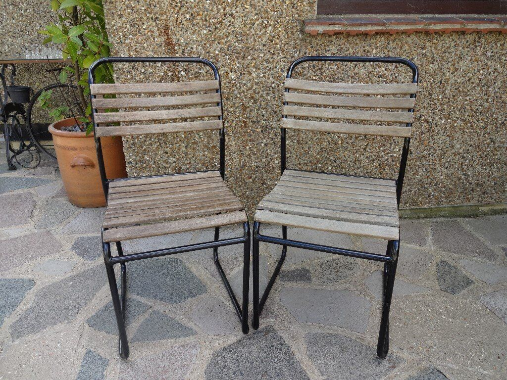 VINTAGE STACKING SCHOOL / INDUSTRIAL CHAIRS x 2