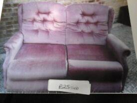 Rose coloured 2 seater lazy boy sofa