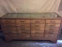 Antique Haberdashery Cabinet Shop Counter With Drawers Early 20th Century
