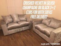 Brand new crushed velvet sofas all £385