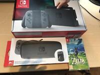 Nintendo Switch with Zelda BOTW and official accessories set