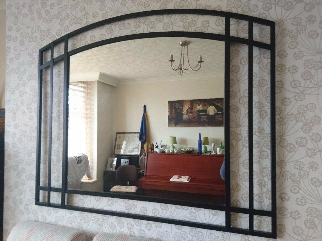 Large Black Mirror with metal frame