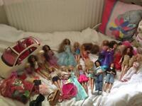 barbie dundle with fiat 500 car 19 dolls And some clothes ex condition