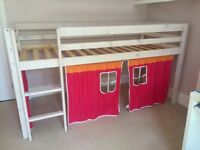 Cabin Bed mid sleeper / high rise with Ladder and Tent