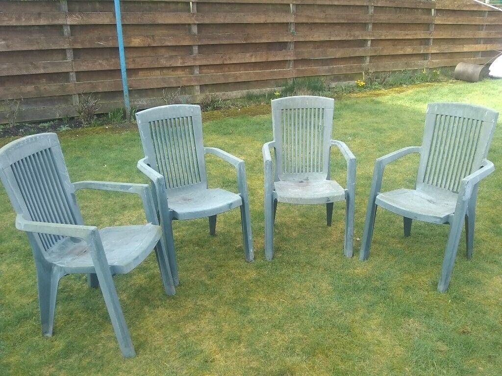 4 plastic garden chairs glasgow £12 00