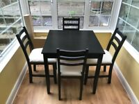 IKEA Lerhamn Dining Table and Chairs - Black-Brown
