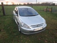 2005 Peugeot 307 1.6hdi quiksilver full years mot. 55mpg bluetooth