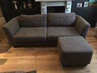 Grey Habitat Sofa Bed and footstool (was £1500 new). For sale for £300.