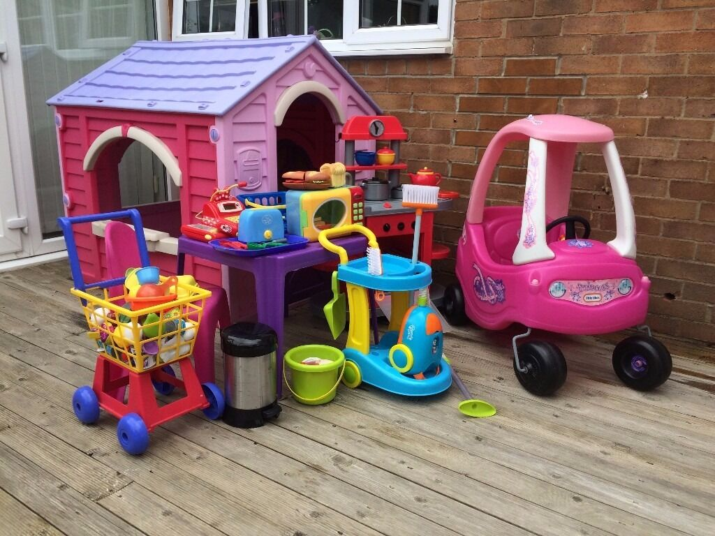 children's playhouse, little tikes pink coupe, play kitchen