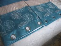 duck egg blue ringed top curtains
