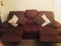 3 Seater Faux-Suede Recliner Sofa