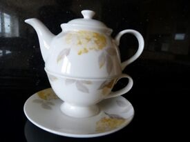 Laura Ashley 1 person teapot and Cup and saucer