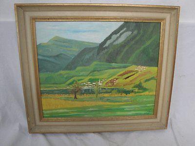 schönes Gemälde eines Dorfs am See signiert !