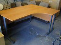 Corner Office Desk in Medium Wood Finish