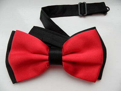 RED/BLACK  2 LAYER SATIN MEN'S BOW TIE WEDDING OFFICE,GOOD QUALITY ()