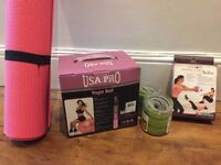 Exercise equipment including: Everlast ankle/wrist weights, Pilates ball / Yoga Ball / Yoga Mat