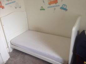 White Mothercare Cot Bed with mattress
