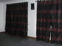 CURTAINS RED EYELETS RING TOP FULLY LINED,DROP 90 inch, WIDTH 66 inch EACH CURTAIN 2 MATCHING PAIRS