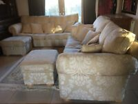 2 X DURESTA WALDORF GRAND SPLIT SOFAS 2 STORAGE FOOT STOOLS 11 FEATHER CUSHIONS