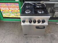 LPG GAS 4 BURNER COOKER UNDER ELECTRIC OVEN CATERING COMMERCIAL FAST FOOD KITCHEN TAKE AWAY