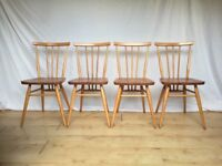 Vintage 4 four Ercol 391 dining kitchen chairs