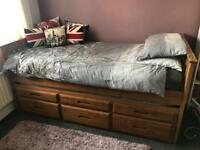 Single bed with pull out guest bed & draws