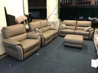 Scs teo grey leather 3 plus 3 seater sofa and xl armchair footstool pouffe electric power Recliner