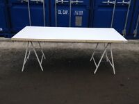 Trestle Table - metal bases with timber top