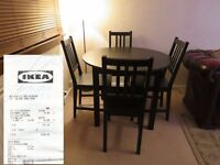 IKEA Dinning Table BJURSNÄS Black-brown with 4 STEFAN chairs