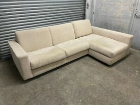 FREE DELIVERY BEIGE SUEDE EFFECT FABRIC CORNER SOFA BED GOOD CONDITION