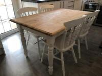 REDUCED - Lovely Shabby Chic Pine Farmhouse Table and 4 Lovely Chairs