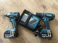 Makita cordless and impact brushless with 2xbattery 18v 4ah and charger(battery's are in very good