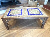 Coffee Table with patterned tile top, Ex Harrods of London
