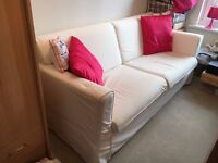 IKEA Sandby sofa in white, spare set of brown covers