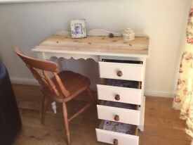 PRETTY SOLID PINE PAINTED DRESSING TABLE/ DESK WITH HEAVY FARMHOUSE CHAIR
