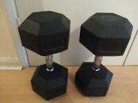 2 x 30Kg (1 Pair) Rubber Hex Dumbbells. Total weight 60kg.