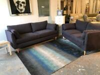 EX SHOWROOM DISPLAY 3 +2 SEATER FABRIC CONTEMPORARY STYLISH SOFA SETTE COUCH SET - PURPLE