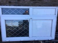UPVC double glazed door with side panel in white with leaded lights