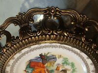 Vintage Gainsborough Bone China Cabinet Plate With gilt frames