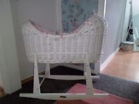 White wicker moses basket and rocking stand excellent condition